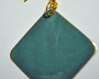 Teal Patina Diamond-Shaped Drops with Gold-plated Surgical Steel Hooks
