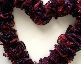 Cherry Red Burgundy Ruffle Scarf, Berry Red Ruffle Scarf, Long Fashion Red Ruffle Scarf, Sparkly Red Ruffle Scarf