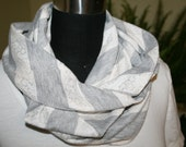 Silver Gray Cream Lace Look Rugby Stripe Jersey Infinity Scarf - Fabric- Athletic Scarf - Circle - Cowl - Fashion Scarf - Teen Girl Woman
