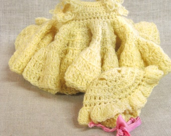 Vintage Crocheted Doll Dress , Yellow , Knitwear, Handmade , Doll Clothes , Full Skirt , Bonnet , Baby Doll , Dresses , Clothing , Doll Hat