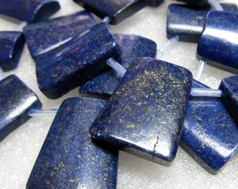 Lapis Lazuli Beads 26 x 20mm Natural Denim Blue Smooth Trapezoid Pendants - 2 Pieces