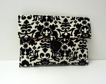 READY TO SHIP - Black Damask Floral with Red Interior