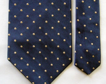 Vintage Brooks Brothers Iridescent Blue Silk Necktie w/ Gold Polka Dot Pattern