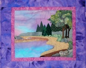 Quilted Wall Hanging, Pondscape, Landscape Pond Scene in Purples and Blues, Beach quilt, Lake Scene Quilt at Sunset