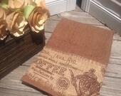Coffee burlap   insert  ~ hand towel