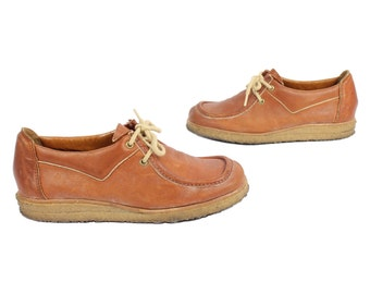 Vintage 70s Leather Loafers Shoes Lace Up Shoes Slip Ons Womens Fall Casual Footwear 1970s 8.5 9 Brown Leather Shoes