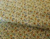 "Vintage 50s 60s Tiny Orange, Blue & Green Flowers on White Cotton Fabric, 44"" x 80"", 2 1/4 YDs"