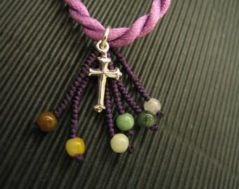 Joyful Cross .. Natural Jade / 925 silver charm Pendant / Necklace