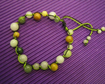 HAPPY DOT  ...  Natural Jade Bracelet / Anklet  ...  Handknotting Jewelry