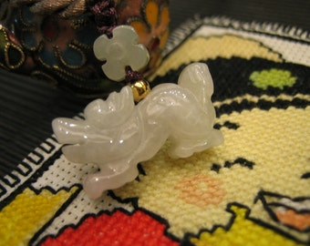DRAGON .. 12 Birth Animals .. Natural Jade Handknotted Pendant / Choker