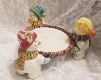 Fitz and Floyd Classics Retired '' Frosty Folks '' Snowmen Pillar Candle Holder  Collectible Christmas