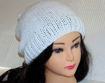 White Knitted Slouchy Beanie Hat for Woman