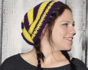 Purple and Yellow Knit Mens Hat, Minnesota Football Team Hat, Slouchy Beanie