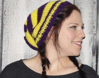 Knit Hat, Winter Hat, Purple and Yellow Hat, Mens Accessories, Knit Mens Hat, Football Team Hat, Slouchy Beanie, Fall Hat