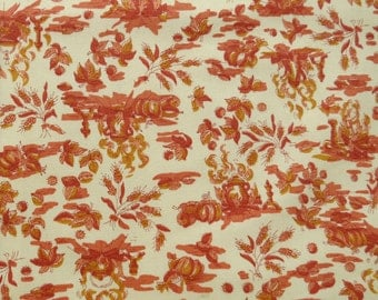 "1960s Vintage Fabric - Tiny Fireside Harvest Print Toile Cotton - Red Orange on Cream - 2 1/2 yards x 45"" wide"