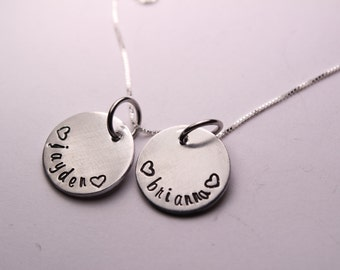 Hand Stamped Mother's / Mommy Necklace - personalized mothers necklace - sterling silver