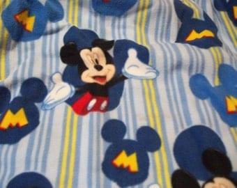 Handmade Baby Crib Quilt Mickey Mouse Polar Fleece Flannel