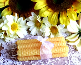 6 Yellow Beeswax candles, Yellow Candles, Mini Beeswax Spell Candles, Mini Candles, Chime candles
