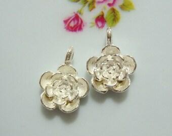 4 pcs, Sterling Silver Sweet Sweet Rose Charm, Earrings, Pendant