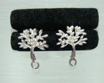 925 Sterling Silver TREE of life Ear Post, Tree Earrings, Icy Matte Finished and Sandblast Leaves - EP-0010