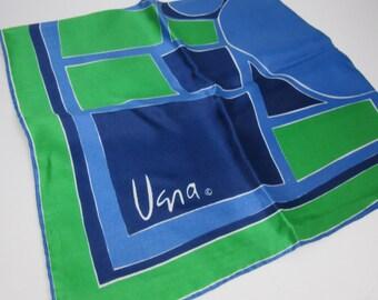 Vera Square Scarf - blue & green geometric pattern - silk / rayon