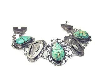 Art Deco Scarab Silver Bracelet - Silver Tone, Egyptian Revival, Pharaoh King, Tourist Souvenir, Vintage Bracelet, Antique Jewelry