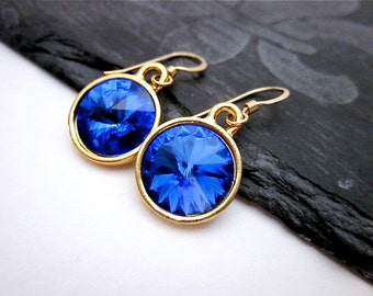 Dark Blue Dangle Earrings -- Sapphire Crystal Earrings -- Gold & Dark Blue Earrings -- Sapphire Swarovski Dangles,12mm Blue Crystal Earrings