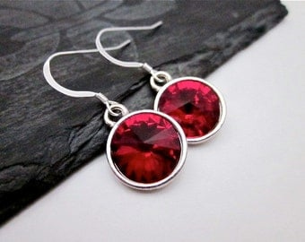 Red Bridesmaid Earrings -- Dark Red Earrings -- Red Crystal Bridesmaid Earrings -- Red Bridesmaid Jewelry -- Siam Swarovski Dangles