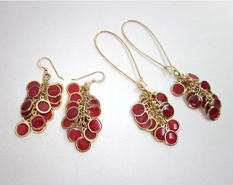 Red & Gold Cluster Earrings -- Red Epoxy Earrings -- Red Dangle Earrings -- Unique Red Earrings -- Choose from 2 styles