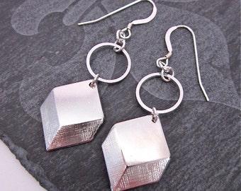 SALE -- Silver Cube Earrings -- Geometric Earrings -- 3D Earrings -- Cube Dangles -- Unique Silver Dangles -- Cube Hoops -- Silver Earrings