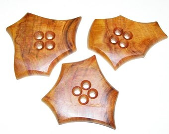 """3 Handmade  plum wood buttons, accessories (2,76"""" diameter x 0,31"""" thick)"""