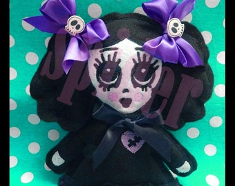 Scary Cupcake TM Embroidered Doll Embroidery Gothic Dolly Dolls Spooky Cutie with Skull Bows
