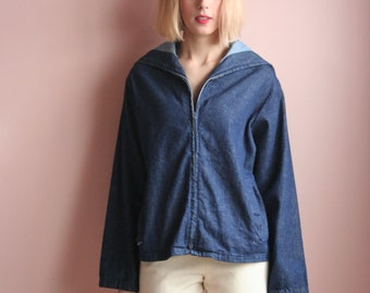 1950's Denim Jacket / Chambray Sailor Collar / Navy Collar Metal Sipper Jacket / Pinup Jacket / Fifties Rare Jacket