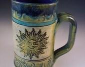 Sun Stoneware Mug, Sun Coffee Mug, Unique Sun Tea Mug, Yellow Sun Green Mug, Big Handle Sun Mug, Sun Beer Mug, Here Comes the Sun Mug