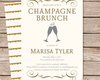 champagne brunch bridal shower invitation / bridal brunch invite / printable file or printed invites