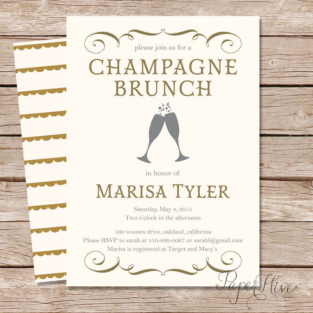 Champagne brunch bridal shower invitation bridal brunch for Wedding brunch invitations