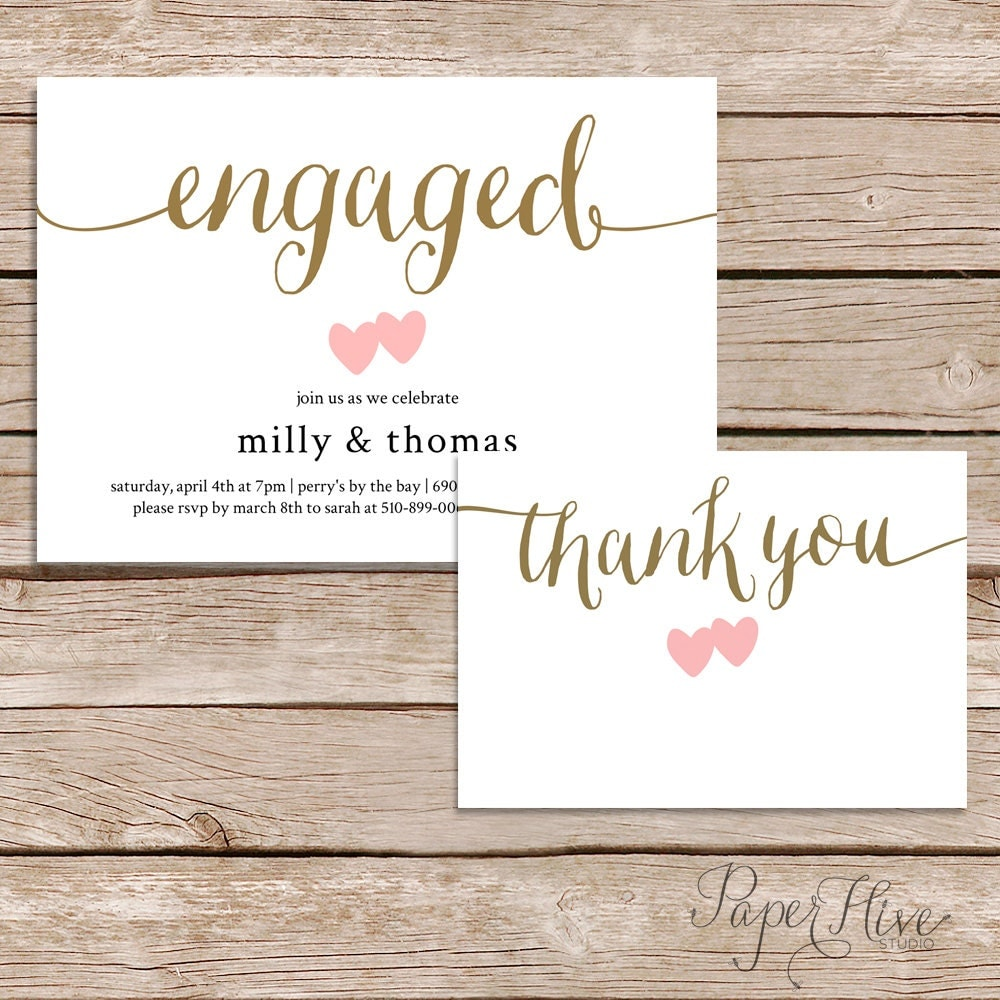 Printable engagement party invitation and thank you card set for Wedding engagement party invitations