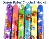 Susan Bates Polymer Clay Covered Crochet Hook, Cats and Yarnballs