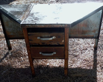 Antique Rustic Small Child Sized Art or project  Desk With Repurposed Drawers (50 % OFF APPLIED)