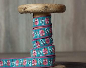 "Farbenmix Jacquard Ribbon Trim ""Owls Garden"" by jolijou design"