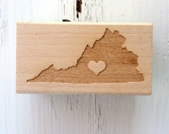 Virginia is for Lovers / Wood Stamp / Stationery / Pen Pal / Gift Wrap