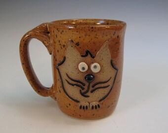 Orange Speckled Cartoon Cat Face Mug - 16 ounces - In Stock