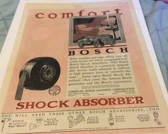 1926 Bosch Shock Absorber Ad for framing.13 x 10 large graphic pront ad.