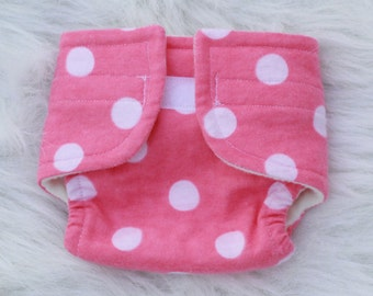 Baby Doll Diaper Big Pink Dot - Size Large