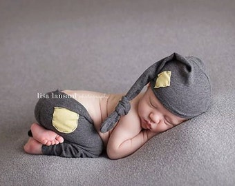 Newborn Photography Prop - Newborn Stocking Hat & Pants - Grey Yellow Prop Set - Baby Boy Prop Set - Baby Girl Prop Set