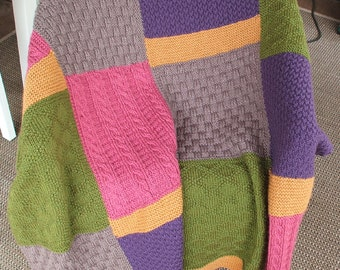 Multicolored Afghan or Blanket hand knit in 100 % Acrylic