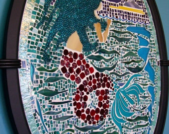 Mermaid, Mermaid Mosaic, Stained Glass, Art Glass