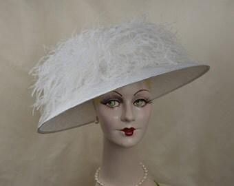 Kentucky Derby Hat, Ladies Edwardian Straw Hat, White Hat
