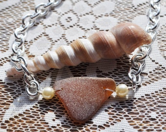 Sea Glass Jewelry Beach Necklace Heavy Silver & Amber with Pearls 1876