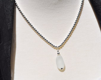 Sea Glass Jewelry English Multi Barely There Necklace Black on White 3670